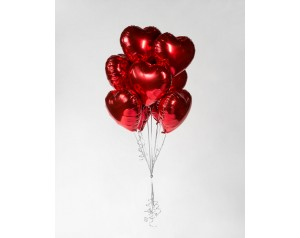 Zestaw czerwonych serc z helem