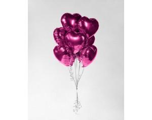 Zestaw różowych serc z helem