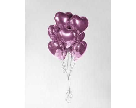 Zestaw pudrowo - różowych serc z helem