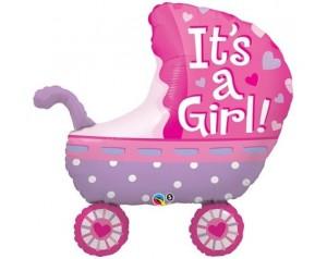 Wózek różowy z helem
