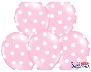 Balon różowy w białe kropki...