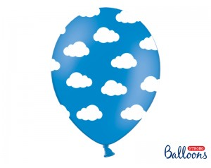Balon niebieski w białe...