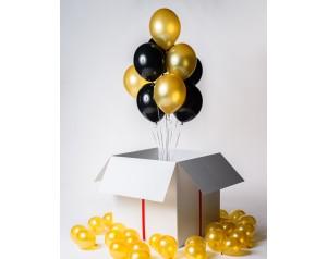 Złoto czarne balony w kartonie