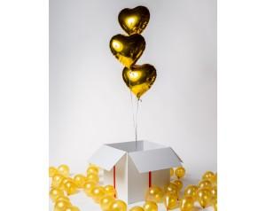 3 złote serca w kartonie