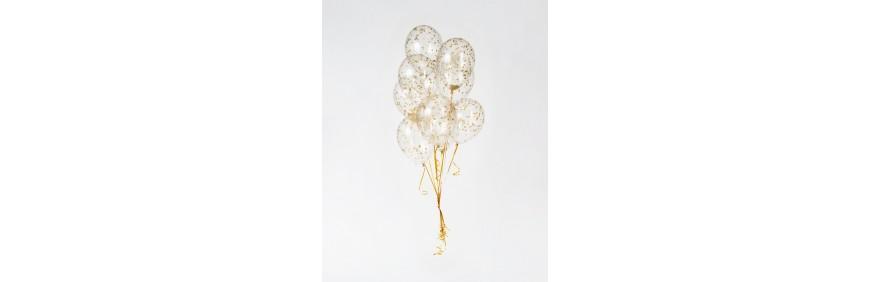 balony konfetti złote konfetti kolorowe na hel eleganckie balony